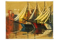 Boats on OneKingsLane.com. Original vintage art from Anna Hackathorn Interior Design.