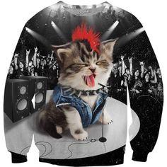 Rock Kitten Crewneck Sweatshirt ($60) ❤ liked on Polyvore featuring tops, hoodies, sweatshirts, crewneck sweatshirt, crew neck sweatshirts, crew-neck sweatshirts, rock sweatshirts and crew neck tops