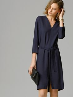 BELTED DRESS from massimo dutti