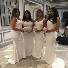 141 USD.White Bridesmaid Dresses,Long Bridesmaid Dress,Mermaid Bridesmaid Dresses,V Neck Bridesmaid Dresses,Long Wedding Party Gowns,Bridesmaid Dresses Plus Size,Long Mermaid Prom Dresses