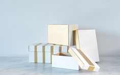 DIY pretty gold & white storage boxes! Glam office decor