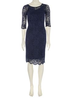 **Jolie Moi Navy 3/4 Sleeve Lace Dress