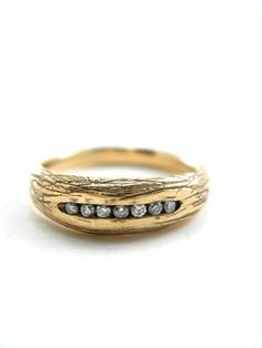 Woodland wedding ring in recycled gold with recycled diamonds - Made in San Francisco - Sharon Z Jewelry by Sharon Zimmerman