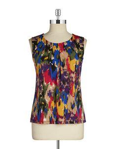 Lord & Taylor Vibrant Print Sleeveless Blouse