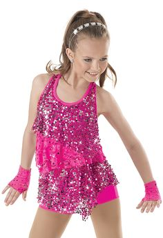 MS Jazz/Pom (Pink, Purple, Lime Green) $34.99-$39.99 Weissman™ | Layered Sequin & Lace Biketard