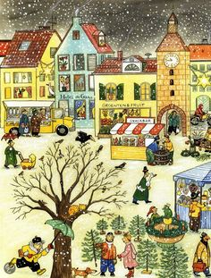 Use for La ville, le temps et Noel. Illustration Noel, Winter Illustration, Christmas Art, All Things Christmas, See Think Wonder, Croatian Language, Communication Orale, Sequencing Cards, Illustrator