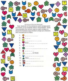 Articles of Faith key words puzzle