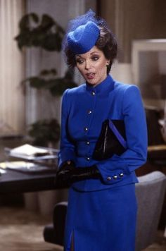 Joan Collins actress ca. 1980s on set of popular TV series, Dynasty