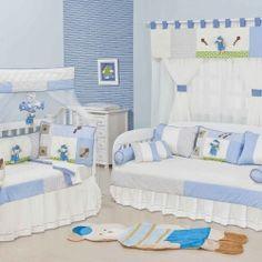 Quarto Completo Enxoval para Bebê Berço Padrão Americano c/ Mosquiteiro Urso Teddy Meninos Bege/Azul 100% Algodão 120 Fios 35 Peças 0 | Grão de Gente