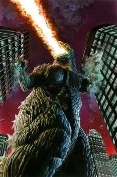 Monster Board, Godzilla Comics, Godzilla Wallpaper, Horror Monsters, Alex Ross, Science Fiction Art, King Kong, Sci Fi Fantasy, Akira