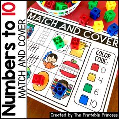 Match and Cover {Kindergarten Math: Numbers to by The Printable Princess Kindergarten Centers, Kindergarten Reading, Math Centers, Alphabet Activities, Math Activities, Math Games, Maths, Math Numbers, Learning Numbers
