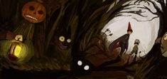 Into the unknown by tunaniverse on DeviantArt Over The Garden Wall, Mysterious Places, Cool Wallpaper, Deviantart, Illustration, Painting, Cartoons, Creepypasta, Wood