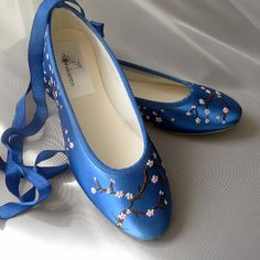 something blue? a bit ridiculously expensive, though  Wedding Shoes Indigo blue flats cherry blossom by norakaren, $225.00