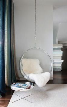 acrylic bubble chair by eero aarnio introduced  in 1968.