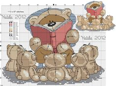 Cute bear reading to a group of little bears FREE chart on site, no picture photo