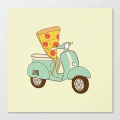 Buy pizza delivery Canvas Print by milkyprint. Worldwide shipping available at Society6.com. Just one of millions of high quality products available.