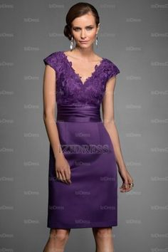 Sheath/Column V-neck Knee-length Satin Lace Evening Dresses - IZIDRESSBUY.com at IZIDRESSBUY.com