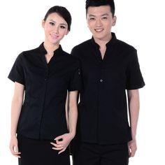 L31 reception restaurant waiter uniform uniforms uniform shirt summer short-sleeved shirt male and female models - Taobao