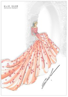 An exclusive sketch of Princess Aurora of Sleeping Beauty by Elie Saab for the Harrods Christmas Installations.