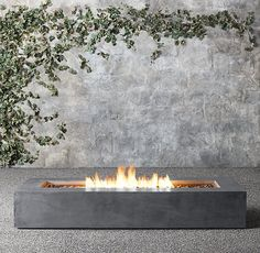 RH's Mendocino Propane Rectangluar Fire Table:Our Modernist-inspired hearths offer streamlined design and accommodating warmth on chilly nights. Crafted of lightweight, heat-resistant fibercast concrete. Outdoor Fire, Outdoor Living, Outdoor Decor, Fire Pit Party, Fire Pit Furniture, Wood Burning Fire Pit, Fire Pit Designs, Fire Table, Patio Heater