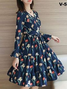Navy Blue Flower Printed One Piece Dress The Jt Store - Vestidos - Stylish Dresses, Modest Dresses, Pretty Dresses, Beautiful Dresses, Casual Dresses, Summer Dresses, Frock Design, Frock Dress, Chiffon Dress