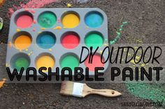 DIY Washable Sidewalk Paint. So easy! Only need 3 ingredients that you probably already have in your pantry!