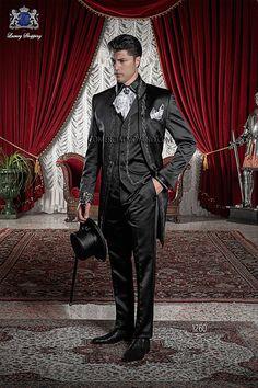Traje de novio italiano levita coreana a medida, en tejido raso negro con bordado de flores en plata, modelo 1260 Ottavio Nuccio Gala colección Barroco 2015.