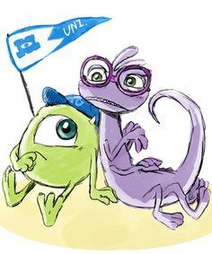 Monsters University Mike Wazowski and Randall concept art