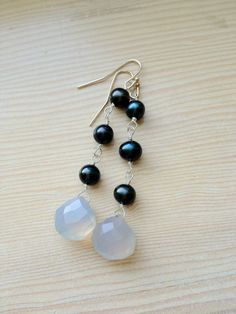 Chalcedony, casual-chic.I want these in white  gray pearls!