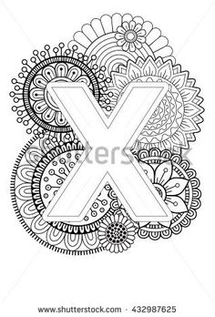 Doodle Floral Letters. Coloring Book For Adult. Mandala and Sunflower. ABC book. Isolated Vector Elements. Capital Letter English Alphabet