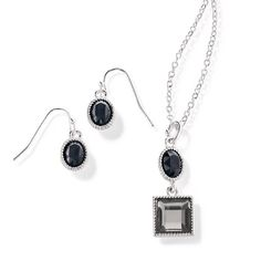 "Sonja Necklace and Earring Gift Set- Silvertone with faux stones and rhinestone accents. 1 1/2"" L pendant on a 16 1/2"" L chain with 3 1/2"" extender. Regularly $19.99, buy Avon Jewelry online at http://eseagren.avonrepresentative.com"