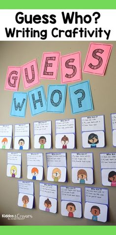 "This guess who bulletin board is perfect display idea for open house. Each students answers the questions ""Who am I?"" by writing clues about themselves."