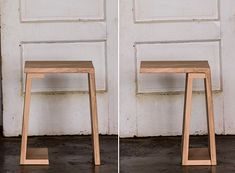 This end table has a trick up its sleeve; the base can be fastened in two different positions to change up its look. Each table is made with Stephen Lysak's trademark joinery, you may also request a fixed location if you tend to be picky about such things. Strand end tables are available in three different finishes: Natural Birch, Walnut, and Charcoal //