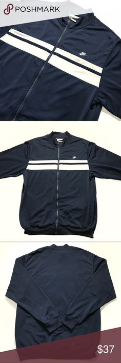 🌚 Nike Track Jacket Vintage Navy Brand: Nike Color: Navy/White Condition: Pre-Owned Style: Track Jacket Size: XL  Additional Notes- Excellent pre-owned condition. Jacket has a very simple but great stylish vintage look. No rips no holes and no stains.  Measurements:  Pit to Pit- 23.5 Front Neckline Zipped to the top to Bottom- 29  Real Photos- What You See Is What You Get  100% AUTHENTIC Nike Jackets & Coats Performance Jackets