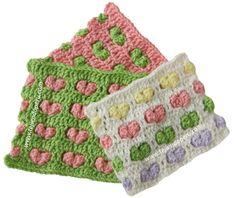 Tutorial: punto fantasía con corazones en relieve tejido a crochet