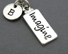 Imagine tag necklace, imagine necklace, Word Imagine, initial necklace, initial hand stamped, personalized, antique silver, monogram