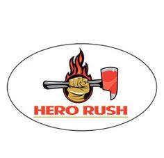 Oval Hero Rush Logo'ed Sticker  Price: $4.00