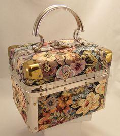 Vintage Delill Designer Tapestry Train Case Box Purse #Delill #Box