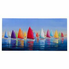 """Bring a touch of artistry to your living room or screened-in porch with this lovely indoor/outdoor canvas print, showcasing a multicolor sailboat motif.  Product: Canvas printConstruction Material: Canvas and woodFeatures: Includes special mounting for outdoor useDimensions: 24"""" H x 36"""" W"""