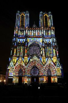 the Cathedral of Reims, France all lit up for its 800th anniversary