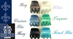 www.pinklilyretail.com Large Turquoise Volume Jaw Clip, available in 17 colors. Made in France