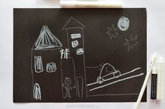 White on Black drawing - try one of these when you need to keep your kid busy!