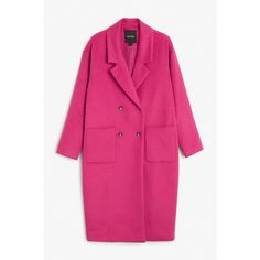 Monki Wool coat (€46) ❤ liked on Polyvore featuring outerwear, coats, hottest pink, monki, lapel coat, pink wool coat, wool coat and woolen coat