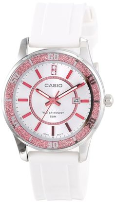 Women's watches  Best white watches for women Casio Women's LTP1358-4A1V  Pink Bezel Watch