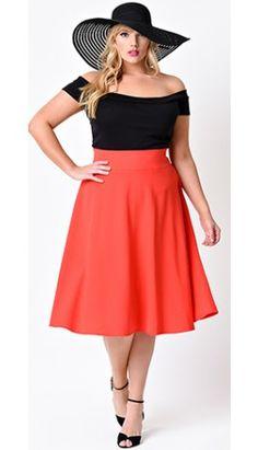 Unique Vintage Plus Size Retro Style Red High Waist Vivien Swing Skirt
