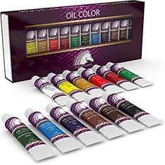 0b58af485d47 Oil Paint Set - x 12 - Oil-Based Paints in Tubes - Artists Quality Art  Colors - Professional Painting Supplies - MyArtscape
