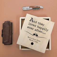 Made from pine wood and engraved with a classic design Comes with the text And they lived happily ever after as standard Can be personalised with