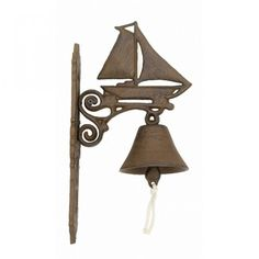 Iron Rustic Sailboat And Bell 13""