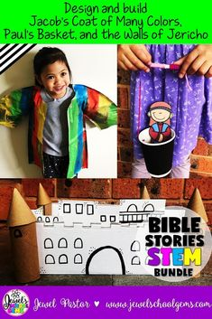 Bible Stories STEM Challenge or Activities | This resource is a BUNDLE of these three resources: Jacob's Coat of Many Colors STEM Challenge, Paul Escapes in a Basket STEM Challenge, and The Walls of Jericho STEM Challenge. Have you ever wondered if STEM and Bible stories can be combined? Well, the answer is YES. Try my Bible Stories STEM Challenge BUNDLE Volume 2 and see how fun and engaging the study of Bible stories can be! CLICK NOW TO SEE IT ON TPT! | Religious Education