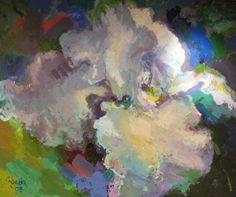 """White Iris,"" Acrylic on Canvas, 68 x 82 in."